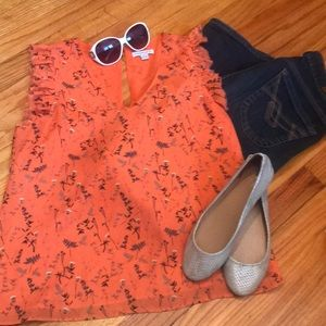 Orange floral ruffle blouse